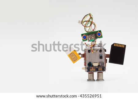 Retro style robot concept with yellow sim card and black microchip. Circuits socket toy mechanism, funny head, colored blue eyes. Copy text, light gradient background