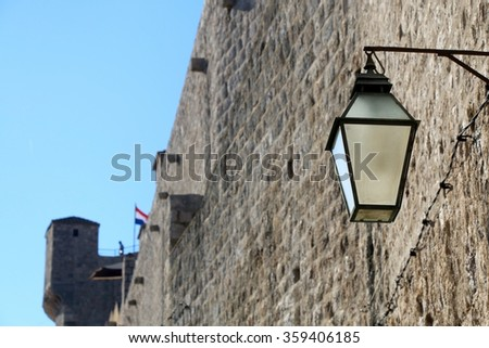Retro style street lamp on City Walls in Dubrovnik, Croatia.