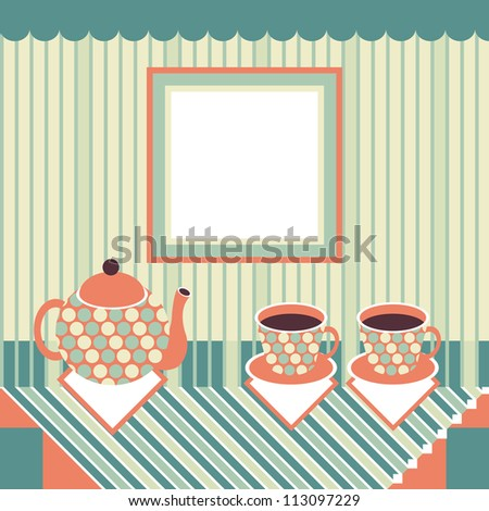 Retro style teapot and two cups standing on table. Raster version of the vector image - stock photo
