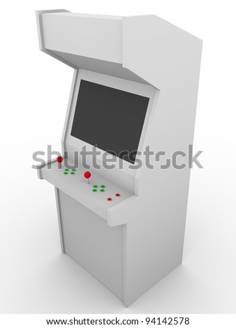 Retro style video game. Arcade machine made in wood. - stock photo