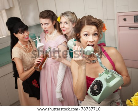 Retro-style woman yelling on phone while her friends drink and smoke - stock photo