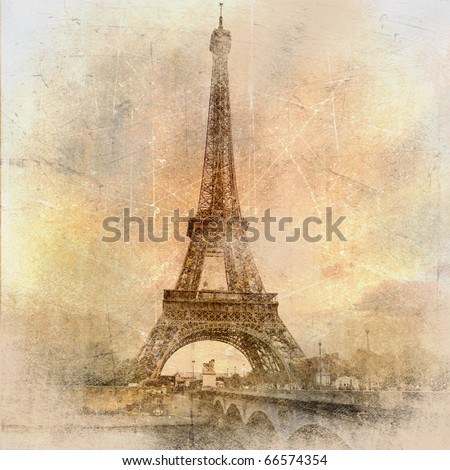 retro styled background - Eiffel tower - stock photo