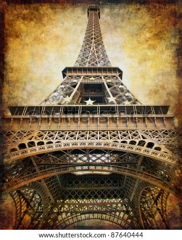 retro styled background - Eiffel tower - stock photo