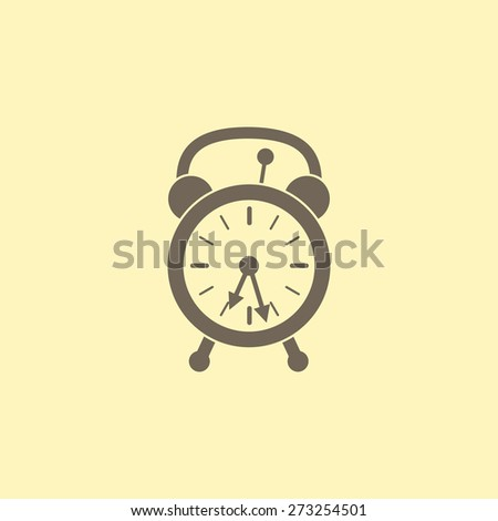 Retro styled beige alarm clock with two arrows isolated on flaxen background. Logo template, design element - stock photo