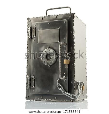 Retro styled brutal safe box with multiple locks on white - stock photo