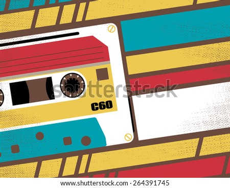 Retro Styled Club Flyer featuring Old School Stereo Tape Cassette in Funky Bright Colours.
