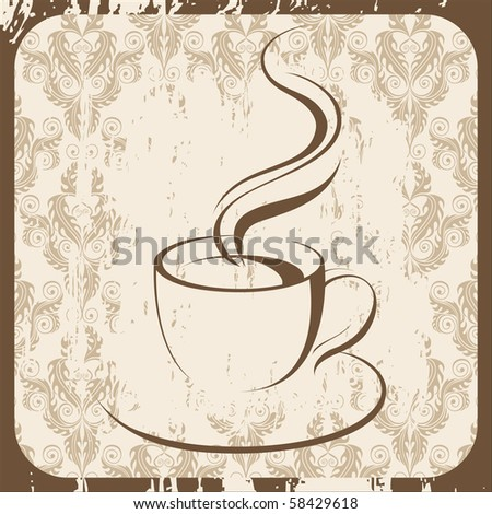 retro-styled coffee cup - stock photo