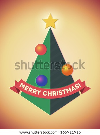 Retro styled geometric christmas tree with ribbon and baubles - stock photo