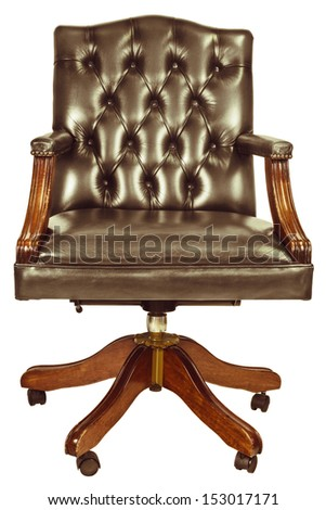 Retro styled image of a classic office chair isolated on a white background - stock photo