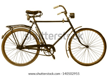 Retro styled image of a nineteenth century bicycle isolated on a white background - stock photo