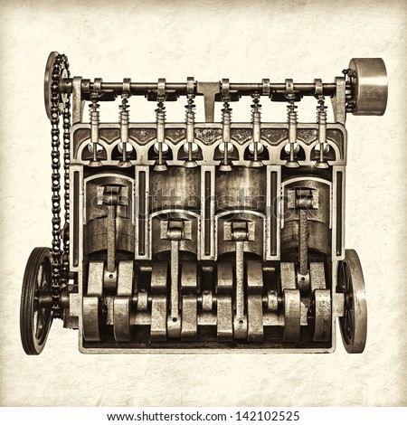 Retro styled image of a partly cutaway old classic car engine - stock photo