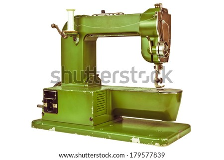 Retro styled image of an old sewing machine isolated on a white background - stock photo