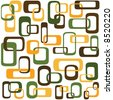 Retro styled interlocking squares in shades of green brown and orange - stock vector