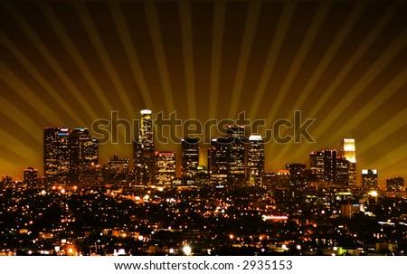 Retro styled photo of the Los Angeles skyline - stock photo