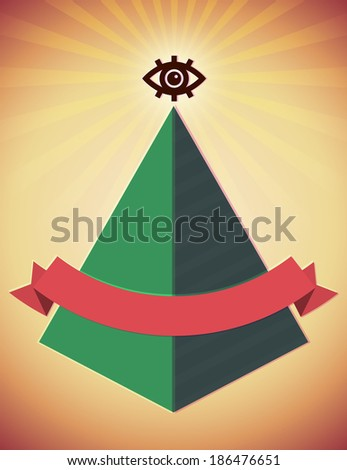 Retro styled poster with all seeing eye and pyramid - stock photo
