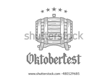 Retro styled rubber stamp with beer barrel, mug and the text Beer festival Oktoberfest  illustration. art