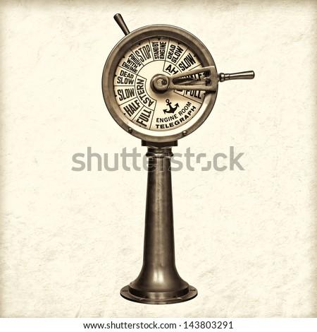 Retro styled sepia image of a nineteenth century engine room telegraph - stock photo