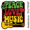 Retro-styled text design of Peace, Love and Music with peace symbol, guitar, heart and musical notes in Rasta colors. - stock photo