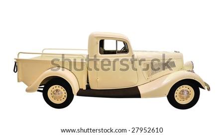 Retro-styled truck isolated over white background - stock photo