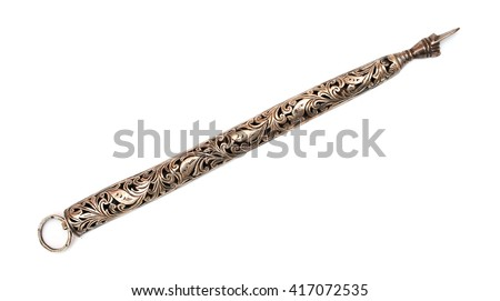 Retro stylish carved pointer for reading the Torah - stock photo