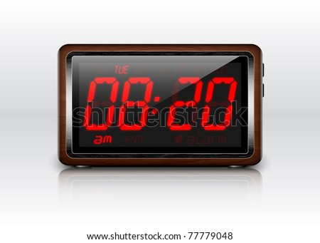 Retro stylized Digital Alarm Clock - stock photo