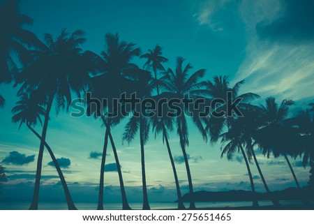 Retro stylized palm trees on tropical beach - stock photo
