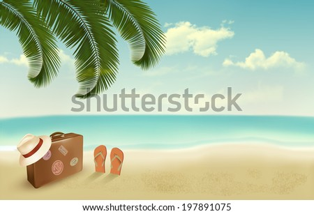 Retro summer vacation background. - stock photo