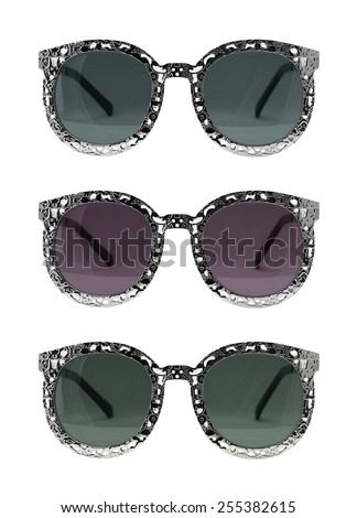 Retro Sunglasses Set isolated on white background, Vintage sunglasses, Classic sunglasses, sunglasses set, multicolored.  - stock photo