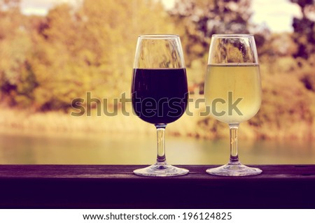 Retro sunset filter style image of two glasses of wine, white and red, on wooden rail with country rural scene in background. - stock photo