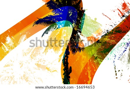 retro surf wave stripe scenic with graffitti style palm trees and paint splatters - stock photo