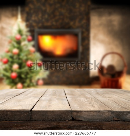 retro table in vintage interior of home  - stock photo