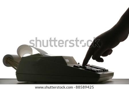 Retro Tape Calculator in fluorescent lighting - stock photo