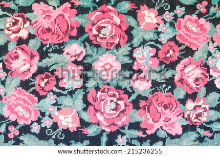 retro tapestry fabric pattern with flower patterns - stock photo