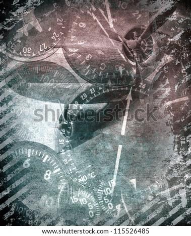 Retro technology, military grunge illustration - stock photo