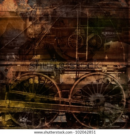 Retro technology, old trains, grunge background texture - stock photo