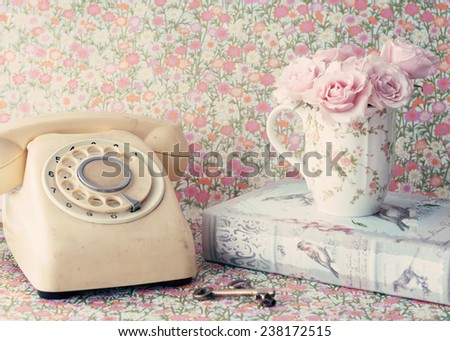 Retro Telephone and roses - stock photo