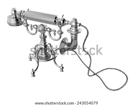 Retro telephone on white background. 3D image - stock photo