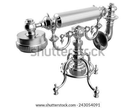Retro telephone on white background. 3D image - stock photo