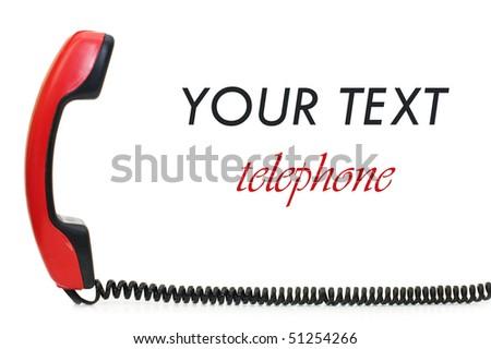 Retro telephone receiver  isolated on white background - stock photo