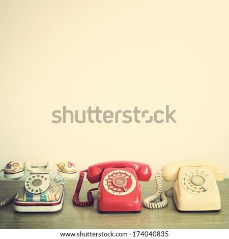 Retro Telephones - stock photo
