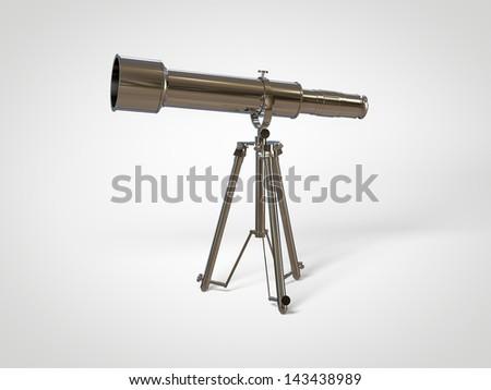 Retro telescope - stock photo
