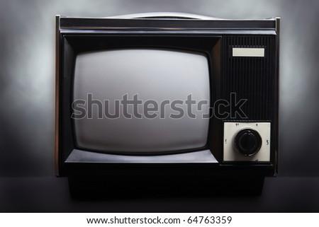 Retro television equipment blank display screen - stock photo