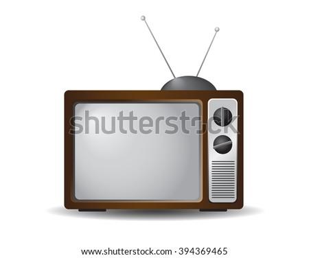 Retro television icon isolated on white background. - stock photo