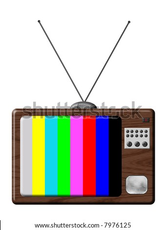 Retro television is a illustration of TV set isolated with tuning colours. - stock photo