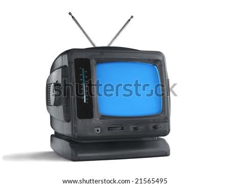 Retro television isolated on white background - stock photo