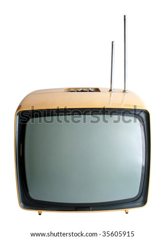 Retro television on white background - stock photo
