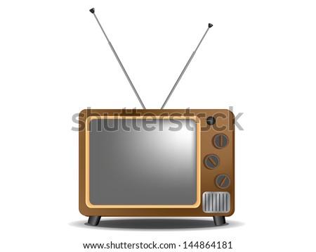 Retro Television on white background, Vector, EPS10 - stock photo