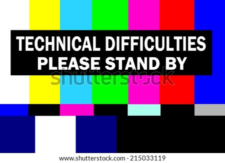 retro television test pattern with please stand by technical difficulties warning - stock photo