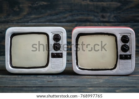 Retro television Trinkets on Blue Background