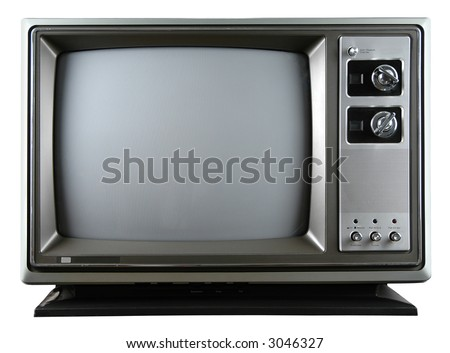 Retro television with knobs isolated over a white background - stock photo
